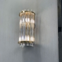 2 Bulbs Gold Column Flush Wall Sconce Minimalism Fluted Clear Glass Rods Wall Lighting Ideas