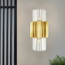2 Heads Hallway Wall Mount Lamp Contemporary Gold Flush Wall Sconce with Cylindrical Crystal Rod Shade