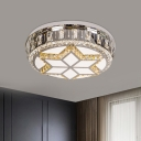 Chrome Six-Point Star Flush Light Modern Style Beveled Crystal LED Close to Ceiling Lamp in Warm/White Light