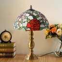 Dome Night Lighting Mediterranean Hand Cut Glass 1 Bulb Brass Finish Table Lamp with Rose Pattern