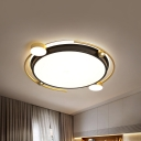 Modernist LED Flush Lamp Black and Gold Circular Ceiling Mounted Light with Acrylic Shade