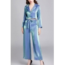 Sparkly Womens Glitter Button Up Lapel Long Sleeve Crop Shirt & Tie Waist Ankle Length Wide-Leg Pants Pajama Set in Blue