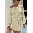 Sexy Ladies Plain Blouson Sleeve Surplice Neck Tied Waist Knit Short Sheath Dress