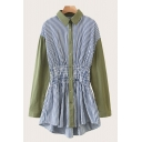 Leisure Green Contrasted Striped Printed Long Sleeve Point Collar Button Up Gathered Waist Short A-line Shirt Dress for Women