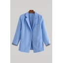 Leisure Womens Solid Color Long Sleeve Notched Collar Single Button Loose Fit Blazer