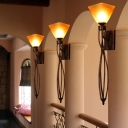 Trapezoid Marble Wall Sconce Light Traditional Style 1 Head Hallway Wall Lighting in Rust with Twisted Arm