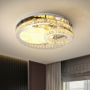 LED Bedroom Semi Mount Lighting Simple Chrome Ceiling Light with Circle Beveled Crystal Shade in Warm/White Light, 19.5