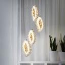 Silver Leaf Cluster Pendant Light Modernism Faceted Crystal LED Suspension Lamp for Dining Room
