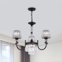 Swirled Arm Ceiling Chandelier Simple Metal 3/6-Light Bedroom Hanging Light Fixture in Black with Cone Crystal Shade