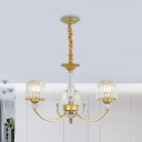 Modernism Cone Shade Chandelier Crystal 3/6 Bulbs Dining Room Ceiling Pendant in Gold with Swooping Arm