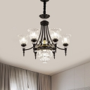 Contemporary Flower Ceiling Hang Fixture Crystal 6/8 Lights Living Room Chandelier Lamp in Black for Living Room