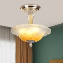 Bowl Ceiling Flush Minimal White/Yellow Ribbed Glass LED Gold Semi Flush Light Fixture