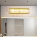 Modernist LED Vanity Lighting Black/Gold Rectangle Wall Sconce with Clear Crystal Block Shade for Bathroom