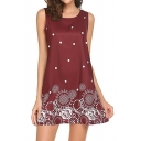Women's Sexy Retro Floral Printed Sleeveless Mini A-Line Slip Dress