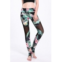 Chic Womens Leggings 3D Floral Leaf Patchwork Mesh Pattern Skinny Fitted High Rise Full Length Stirrup Leggings for Women