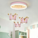 Suspended Crown Girl's Room Ceiling Light Resin 3 Heads Kids Style Flush Mount Lamp in Pink