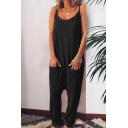 Womens Jumpsuits Trendy Solid Color Dropped Inseam Pockets Sleeveless Scoop Neck Loose Fitted Jumpsuits