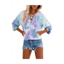 Fancy Womens Tie Dye Print Kangaroo Pocket Lace Up Front V Neck Long Sleeve Loose Fit Hooded Hoodie