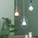 Metal Capsule Cage Hanging Ceiling Light Contemporary 1 Head Pendant Lighting in White/Pink/Yellow
