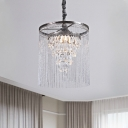 Crystal Teardrops Tapered Drop Pendant Modern Stylish 1 Bulb Silver Hanging Lamp with Tassel Chain
