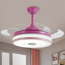 Round Acrylic Hanging Fan Light Macaron Pink/Blue LED Semi Flush Ceiling Fixture with 3 Blades for Bedroom, 42