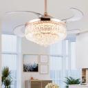 Teardrop Hanging Fan Lamp Contemporary Crystal Orb 19