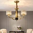 Gold Cylinder Chandelier Lamp Postmodern 3/6-Light Prismatic Crystal Ceiling Pendant for Hotel