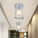 Floral Close to Ceiling Lamp Minimalism White Glass 1 Head Doorway Semi Flush with Dangling Crystal in Chrome