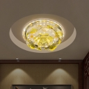 Carp and Lotus Flush Lamp Fixture Modernism Yellow Crystal LED Corridor Ceiling Flush Mount in Warm/White Light