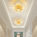 Lotus Ceiling Flush Mount Simple Amber Crystal LED Bedroom Flush Lighting Fixture in Warm/White Light