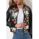 Women's Cool Punk Style Floral Printed Rib Stand Collar Zip Up PU Leather Baseball Jacket