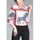 Popular Womens Horse Floral Printed Color Block Button Up Spread Collar Long Sleeve Regular Fit Shirt in Pink