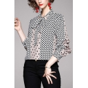 Black Novelty Polka Dot Print Color Block Hidden Button Keyhole Bow Tie Neck Long Sleeve Fitted Shirt for Women
