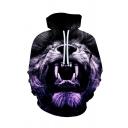 Mens Popular Hoodie Lion Head 3D Print Pocket Drawstring Fitted Long Sleeve Hoodie in Black