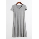 Loose V Neck Short Sleeve Plain Mini A-Line Dress