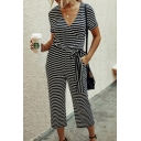 Womens Jumpsuits Creative Horizontal Striped Pattern Tie-Waist Short Sleeve 7/8 Length Surplice Neck Slim Fitted Jumpsuits