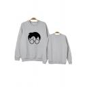 Harry Potter Figure Face Pattern Round Neck Long Sleeve Pullover Sweatshirt