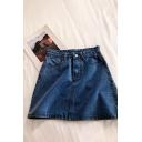Womens Skirt Fashionable Plain Zipper Fly High Rise Short Bodycon Denim Skirt