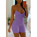 Womens Rompers Chic Plain Rib Knitted Spaghetti Strap Skinny Fitted Sleeveless Rompers