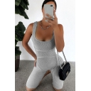 Vintage Womens Rompers Rib Knitted Mention Hip Scoop Neck Skinny Fitted Sleeveless Rompers