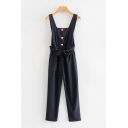 Womens Jumpsuits Unique Plain Front Button Detail Bow-Knot Waist Strap Regular Fitted Sleeveless Tapered Jumpsuits