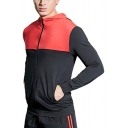 Basic Mens Jacket Color-Block Zipper Detail Slim Fitted Long Sleeve Hooded Casual Jacket with Pockets