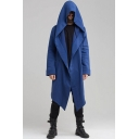 Retro Mens Jacket Solid Color Cardigan Asymmetric Hem Large Hood Loose Fitted Casual Jacket