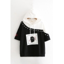 Fashion Girls Demon Printed Contrasted Short Sleeve Hooded Drawstring Relaxed Fit T Shirt