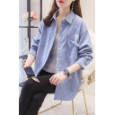 Leisure Girls Single Daisy Flower Embroidered Long Sleeve Point Collar Button Up Relaxed Fit Shirt Top