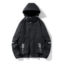 Classic Mens Jacket Striped Printed Bungee-Style Detail Zipper Detail Loose Fit Long Sleeve Hooded Casual Jacket