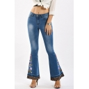 Womens Jeans Blue Casual Medium Wash Flower Embroidery Leopard Cuffs Zipper Fly Regular Fit Long Flare Jeans