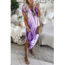 Women's New Trendy Tie-dye Printed V-Neck Short Sleeve Split Side Midi T-shirt Dress