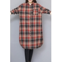 Girls Popular Plaid Patterned Linen and Cotton Long Sleeve Spread Collar Button Up Curved Hem Long Loose Fit Shirt Top