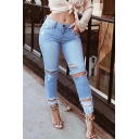 Novelty Womens Blue Jeans Light Wash Distressed Hole Low Waist Zipper Fly Slim Fit 7/8 Length Tapered Jeans
